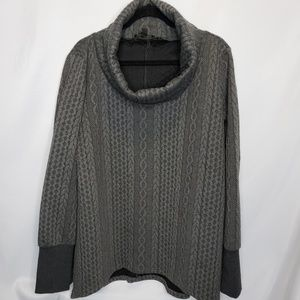 Suzanne Betro Gray Cowl Neck Quilted Long Sleeve